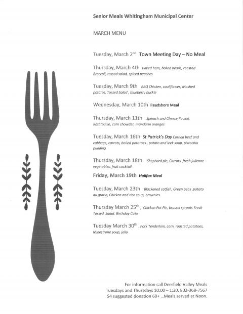 Senior Meals March 2021 menu